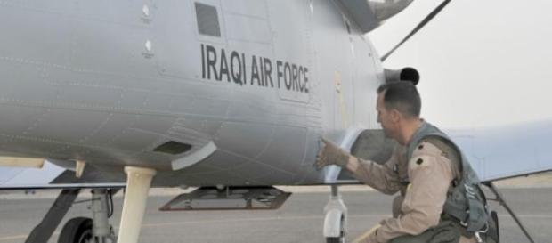 Pre-flight check, at Iraqi air base, near Tikrit.