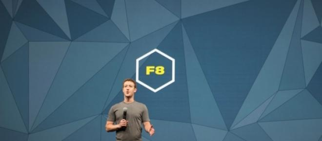 Mark Zuckerberg on stage at Facebook F8 Conference