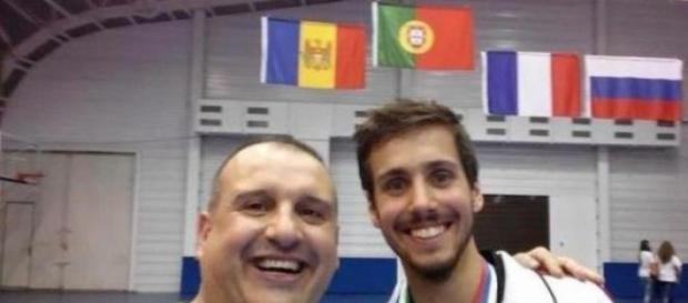 O selecionador Joaquim Peixoto com Rui Bragança