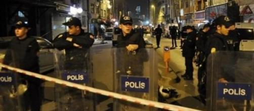 Police in the Kagithane district, Istanbul.
