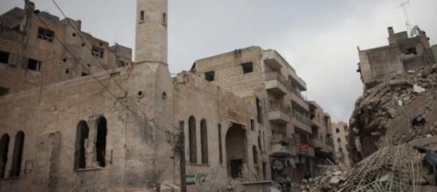 Des édifices en ruines à Idleb suite aux combats.