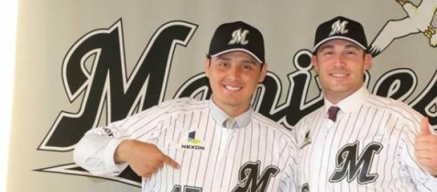 Luis Alfonso Cruz con los Marinos de Lotte