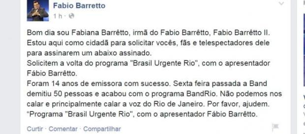 Fabio Barreto foi um dos que ficarão fora do ar