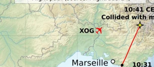 La rotta del volo 9525 di Germanwings-Lufthansa