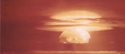 Nuclear test Castle Bravo on Bikini Atoll, 1956.