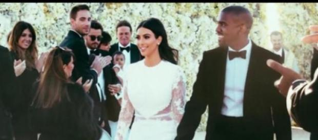 Kim Kardashian & Kanye West en su boda