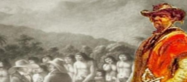 Um Bandeirante e os/as índios/as enganados/as