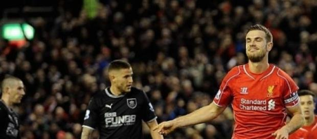 Henderson celebrates scoring Liverpool's opener