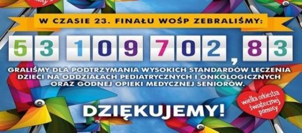 WOŚP podaje oficjalny wynik 23. finału.