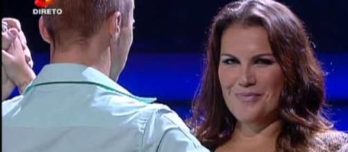 Kátia Aveiro no programa Dança com as Estrelas
