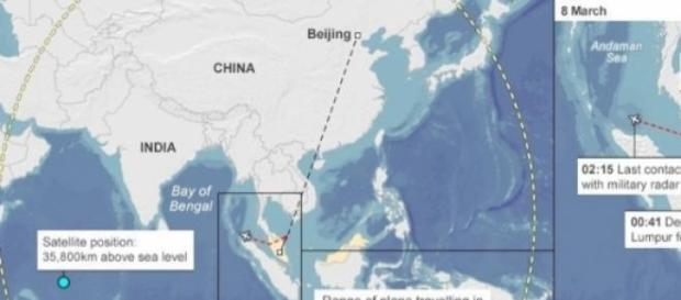 Disappeared MH370 Search Radius