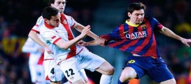 Imagen del encuentro entre el Barcelona y el Rayo