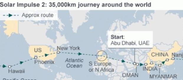 Solar Impulse-2 planned route