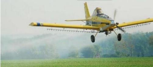 Imagen de la pulverización aérea