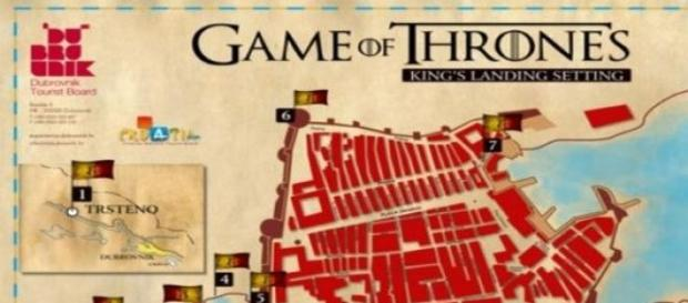 O mapa dos locais de filmagem da série