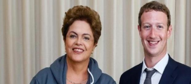 Dilma e o fundador do Facebook, Mark Zuckerberg