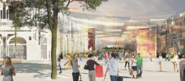 Una ricostruzione degli stand di Expo Milano 2015