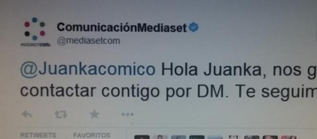 El tweet que Mediaset le mandó a Juanka