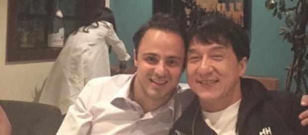 Felipe Massa após GP janta com Jackie Chan.