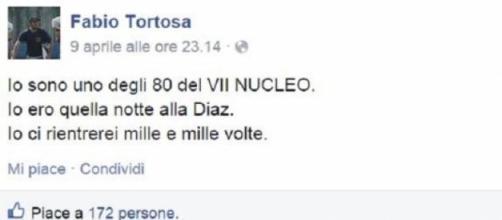 Il post di Fabio Tortosa su Facebook.