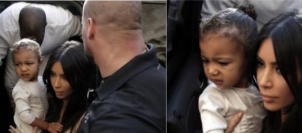 Bebé North no colo da mãe, Kim Kardashian