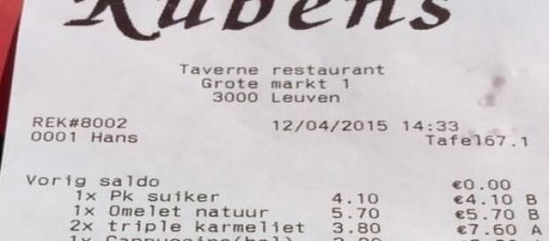 Le ticket du restaurant Rubens à Louvain