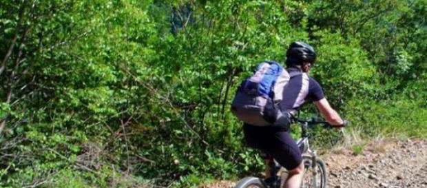 Un bikers in azione su un sentiero sterrato.