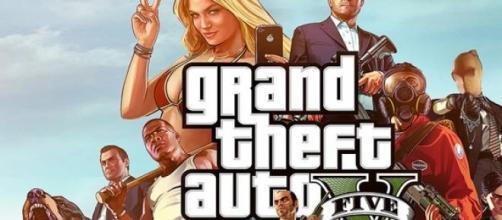 Carátula promocional del videojuego GTA V.