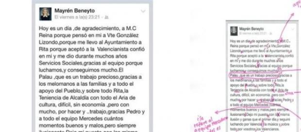 publicación en Facebook de Mayrén Beneyto