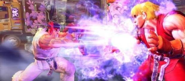 Ryu y Ken en pleno combate