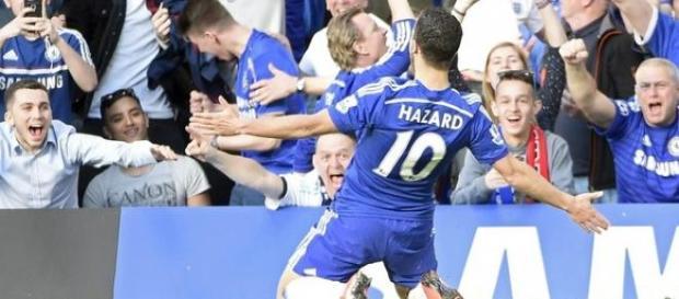 Hazard comemora o gol que deu a vitória ao Chelsea