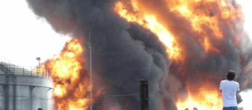 Incêndio ocorrido em Santos hoje.