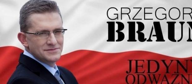 Plakat wyborczy Grzegorza Brauna - mat. prasowy