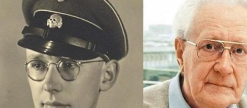 Oskar Gröning durante a II Guerra e atualmente