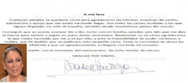Carta de Isabel Pantoja a sus fans