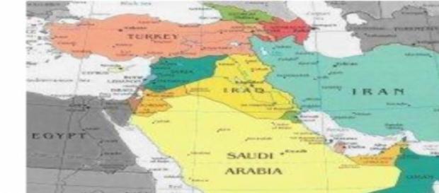 medio oriente , cartina geografica