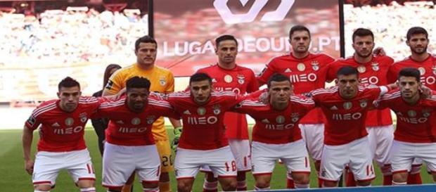 Onze do jogo Benfica-Nacional.