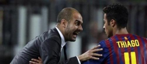 Guardiola e Thiago de regresso a Barcelona