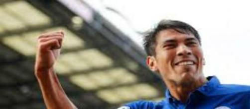 Ulloa celebrates scoring against Swansea