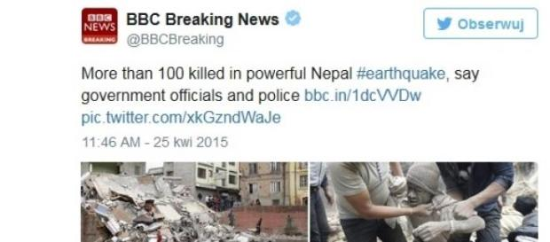 Nepal: trzęsienie ziemi - twitter BBC