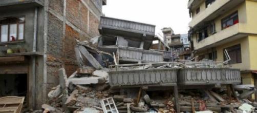 Imagem do desastre no Nepal