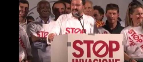 Un comizio di Salvini, segretario della Lega Nord