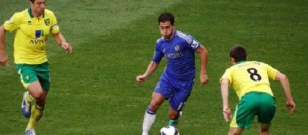 Hazard in action last season against Norwich