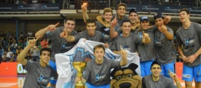 Imágen del plantel campeón Bahía Basket en la Liga de Desarrollo 2014/2015 en su primera edición.<br />