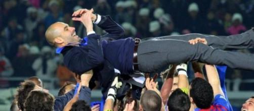 Pep Guardiola ganando en Barcelona