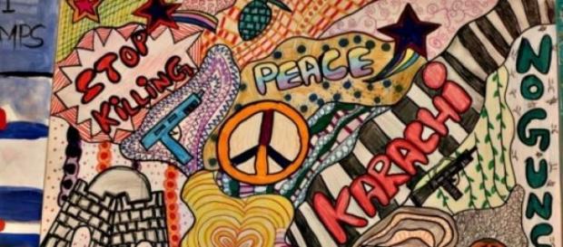 Work of children to demand peace in Karachi
