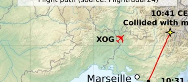 Il punto di impatto del Volo 9525 Germanwings