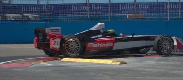 A Mahindra Formula E car racing in Argentina