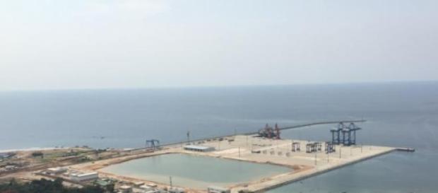 Une vue aérienne du port de Kribi.
