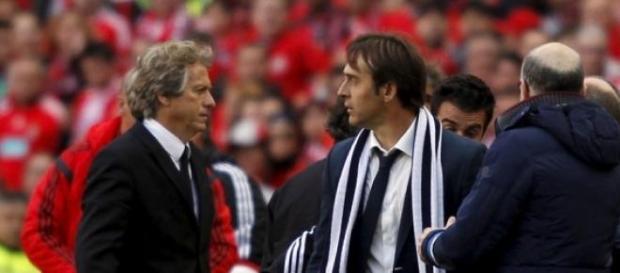 Jesus e Lopetegui no último Benfica-FC Porto
